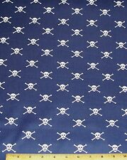 Skulls Crossbones Fat Quarter Fabric 100% Cotton on Navy Blue