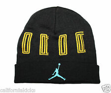 NIKE Air Jordan Retro XI Beanie Men's Adult One Size Black Gamma Blue Yellow 11