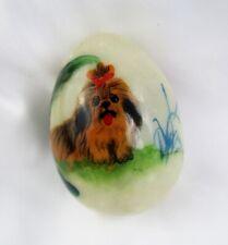 Vintage Hand Painted Lhasa Apso Dog on Alabaster Egg - Cute!