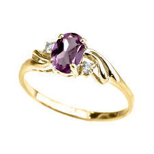 Solid 10k 14k Yellow Gold Cz Alexandrite Oval Solitaire Proposal Ring