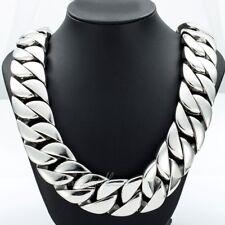 Mens Super Heavy 316L Stainless Steel Curb Cuban Link Chain Necklace Bracelet