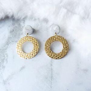 Marble Polymer Clay Golden Hoop Earrings Handmade Circle Hoop Surgical Steel