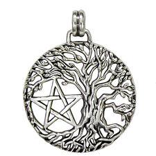 Sterling Silver Tree of Life Yggdrasil Pentacle Pentagram Pendant Jewelry Wicca