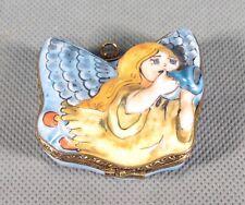 Limoges France Original Trinket Box. Angel Blowing Horn