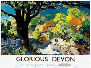 TOURISM RAILWAY DEVON ENGLAND UK GLORIOUS VILLAGE TREE ART PRINT POSTER CC2079