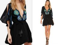 NWT FREE PEOPLE XS/S/M CORE Embroidered Mini Dress in Black