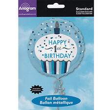 Party Supplies Decorations One Boys Birthday 1st 45cm Cupcake Foil Balloon