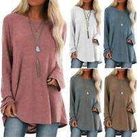 Plus Size Women Long Sleeve Sweater Tops Tunic Loose Casual Basic Blouse T Shirt