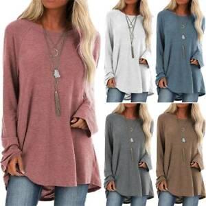 Damen Pullover Langarm T-Shirt Bluse Baggy Tunika Oberteile Longtops Sportshirt