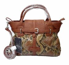 Sisley Python Small Tote Bag Double Shoulder Straps 2 Toned Brown/Snake Skin