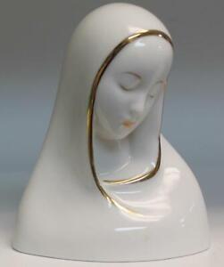 Boehm Virgin Mary White Glazed with Gold Trim Porcelain Bust Madonna Figurine