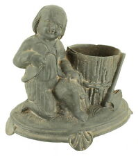 Antique Victorian Pot Metal 1878 Figural Young Child w/ Bucket Toothpick Holder