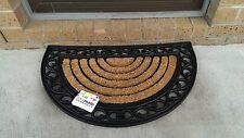 Half Circle, Ribbed - Natural Coir on Recycled Rubber Door Mat