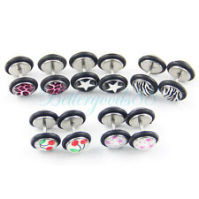 10Pcs Mix Pattern Fake Cheater Earring Stud Barbell Ear Plug Earlet Gauge JW438