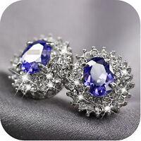 18k white gold gf simulated diamond lady wedding bride stud earrings purple
