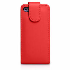 RED Leather Flip Case Cover with Card Slots&clip for Apple iPhone 4/4S Plain
