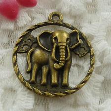 Free Ship 22 pieces bronze plated elephant pendant 32x28mm #740