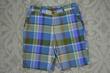 Merona Women's new Blue Purple Brown Plaid Cotton Bermuda Shorts sz 4 NWOT