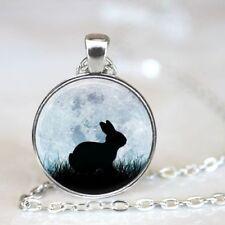 New Rabbit Cabochon Tibetan silver Glass Chain Pendant Necklace Jewelry