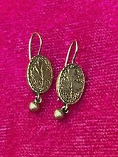 antique Victorian 14 kt rose gold French hook earrings~dangle ball drops~1 gram