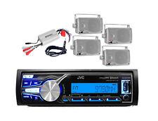 Marine JVC iPod iPhone AUX input Radio, 800W Amp, Antenna, 4 Silver Box Speakers