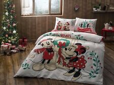 New Year Mickey Minnie Mouse 100% Cotton Bed Quilt/Duvet Cover Set Full/Queen