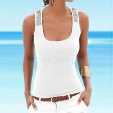 Womens Plus Size Sleeveless Sequin Vest Tops Summer Ladies Casual Blouse T Shirt