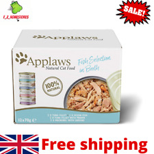 More details for applaws 100%  natural wet cat food, fish selection in broth 70 g tin pack of 12
