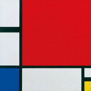 Piet Mondrian Composition with Red, Blue and Yellow Giclee Canvas Print Painting