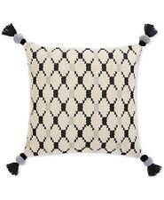 """Sunham Hand Woven Diamond Tassel 22"""" Square Decorative Pillow CREAM E91309"""