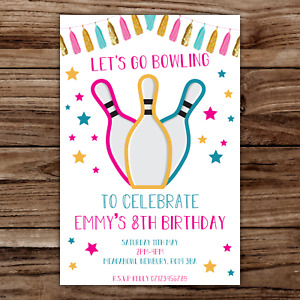 10 *PERSONALISED* invites BOWLING invitations fun girly PARTY