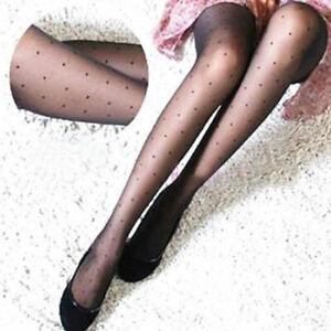 Women Girls Sexy Black Polka Dot Pantyhose Long Tights Stockings Hosiery Sock UK