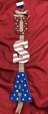 """Usa Glitter Red White Blue Patriotic Door Wall Sign Hangs 24"""" Long"""