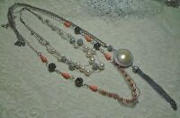 VINTAGE TO NOW FAUX PEARL & LUCITE BEADED MULTI STRAND SILVER TONE NECKLACE LOT