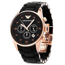 Emporio Armαni AR5905 Men's Luxury Watch Rose Gold BLACK SILICON 5 Year Warranty