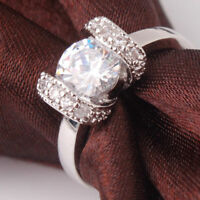18k White Gold Filled Crystal Ring Size Q High Quality & Velvet Pouch.LAST ONE