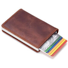 Auto Metal Credit Card Holder Faux Leather RFID Blocking Small Wallet Money Clip