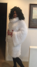 White dress knitted DECOFUR mohair Made to order extravagant handmade design