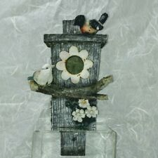 """RUSTIC BIRD HOUSE w/ceramic birds Decor In or Out 10"""""""