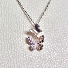 Crystal Double Butterfly Pendant Necklace Solid Sterling Silver 925 Amethyst