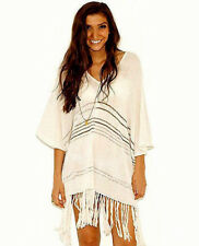 NEW $128 MODCLOTH IVORY BROWN STRIPE FRINGE LIGHT PONCHO COVERUP FITS ALL SIZES