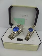 Geneva Men's & Women's Two Tone Blue Dial Classic Collection Watch Set G-43