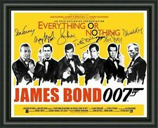 JAMES BOND - ALL 6 BONDS - A4 SIGNED AUTOGRAPHED PHOTO POSTER  FREE POST
