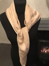 Louis Vuitton Monogram Nude Beige Made In Italy Pure Silk Scarf 100% Authentic