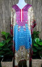Plus Size Satin Like Embellished Kaftan Digital Printed Size 16-18-2-22-24-26