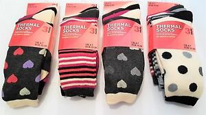 6 Pairs Of Ladies Design Thermal Socks, Thick Warm Winter Boot Socks, Size 4-7