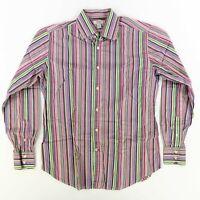 Guess Men's L/S Button Down Multi Color Striped Dress Shirt Large Career Shirt