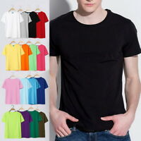 Summer Mens Womens Solid T-Shirts Short Sleeve Casual O-Neck Tops Tee Plus Size