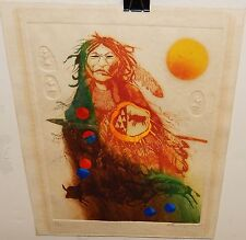 POTE SANGAWONGSE AMERICAN INDIAN CHIEF HAND COLORED AND SIGNED IN PENCIL ETCHING
