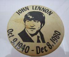 John Lennon pin Oct. 9, 1940 - Dec 8, 1980 Commemorative Beatles RARE